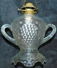DO YOU KNOW ME VERY RARE  UNUSUAL DOUBLE HANDLED BASKETWEAVE OIL LAMP MUST C
