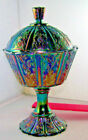 Fenton Carnival iredescent Candy Compote with lid