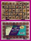 40 New MessageStor Fun Stuff Wooden Mounted Mini Rubber Stamps