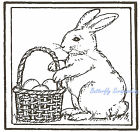 Bunny Rabbit Basket Square Wood Mounted Rubber Stamp Northwoods New CC7932