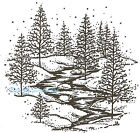 Winter Pine Trees  Stream Scene Wood Mounted Rubber Stamp NORTHWOODS M2976 New