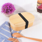 1 pc Lunch Box Japanese Style Wooden Square Bento Container Snack Box for Office