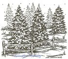 Winter Pine Trees  Fence Scene Wood Mounted Rubber Stamp NORTHWOODS M7671 New