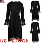 Women Halloween Witch Cosplay Costumes Gothic Punk Long Sleeve Lace Up Plus Size