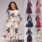 Women Retro Tunic 3 4 Long Sleeved Floral Print Bodycon Dresses Vintage Dress