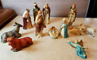 Antique 13 Nativity Figures Hard Plastic Made in Hong Kong MidCentury Vintage