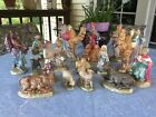 HAND MADE VINTAGE CERAMIC HAND PAINTED 17 PIECES RELIGIOUS NATIVITY SET 1976