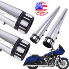 4 Megaphone Exhaust Pipes Mufflers Slip On For Harley Electra Glide Road King