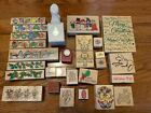 LOT of CHRISTMAS themed Rubber Stamps  Craft Punches EUC
