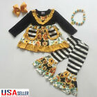 2PCS Toddler Baby Girl Winter Clothes Sunflower Tops Dress Striped Pants Outfits