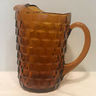 Indiana Whitehall American Colony Amber Cubist Water Tea Pitcher Ice Lip R34C