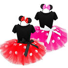 Girls Minnie Mouse Halloween Cosplay Party Costumes Tulle Tutu Dress + Headband