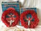 2 Vintage Sterling Red Cellophane Vinyl Electric Christmas Wreath Candle IOBs