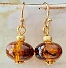 Beautiful Gold Earrings with Vintage Tortoise Beads