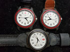 LOT OF THREE VINTAGE SWISS ARMY DATE QUARTZ WATCHES FOR REPAIR OR PARTS UNTESTED