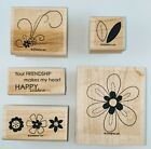 Stampin up Friendship Blooms Flowers Leaf Makes my Heart Happy GREAT CONDITION