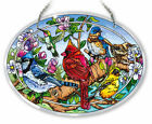 AMIA STAINED GLASS SUNCATCHER 65 X 9 OVAL BIRDS AND BLOSSOMS CARDINAL 42133