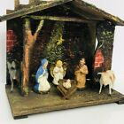 Vintage Nativity Wood Creche Set Germany Composite 6 Figures Jesus Mary Joseph