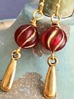 Beautiful Scarlet Red and Gold Vintage Bead Dangle Earrings