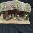 Christmas Nativity Scene Creche Wooden Stable Tree Angel Kings Animals Lot 10
