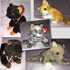 Lot 5 Beanie Babies Cats Kittens Ty Tangles Scat Frisco Heiress Fraidy Cute Meow