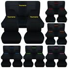 Jeep Wrangler YJ TJ JK JL 1987 2020 Black Seat Covers w Your Name Front Rear Set