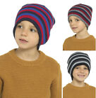Boys 3 Pack Stripey Beanie Winter Hat