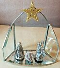 Small Nativity Pewter Jesus Joseph Mary on Glass Creche Gold Glitter Star