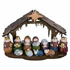 One Holiday Way Adorable Kids Mini Christmas Nativity Set with Wooden Creche