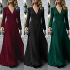 US STOCK Women V Neck Long Sleeve Maxi Dress Evening Party Cocktail Formal Dress