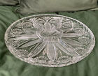 Crystal Glass Heavy Nibbles Plate Dish Cut Floral Star Vintage Sections Dip
