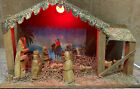 Vintage Nativity Scene Wooden With Primitive Figures Lighted