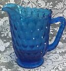 Fenton Glass Colonial Blue Thumbprint 34 ounce Jug Pitcher pre logo