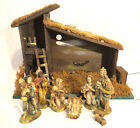Antique Vintage Nativity Set 8 Figures Made in Italy w Manger