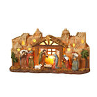 New Christmas Gift Lighted Nativity Scene with Manger and Bethlehem Backdrop