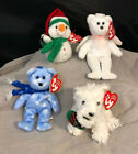 Lot Retired Jingle Beanies Baby Bears 1999 Ty Halo Presents Dog Melton Snowman