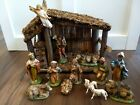 Antique Vintage Christmas Nativity Set 11 Figures Made in Italy w Manger Creche