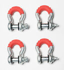 4 3 4 Bow Shackle D Ring w Pin 10500 w red noise vibration Reducer Jeep CJ