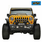 EAG Stubby Front Bumper Black with Skid Plate Fit for 2007 2018 Jeep Wrangler JK