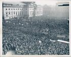 1949 Photo People Huge Crowd Architecture Building Banners Vintage Image