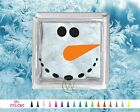 Snowman Face Glass Block Decal DIY Christmas Sticker Holiday Shadow Coal Carrot