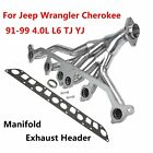 Stainless Exhaust Manifold Header for 91 99 Jeep Wrangler Cherokee 40L L6 TJ YJ