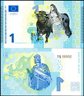 EUROPE 1 EURO POLYMER FANTASY ART BILL TOPLESS LADY AND BULL CHARLES MARTELL