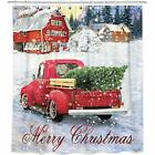 Bonsai Tree Merry Christmas Shower Curtain Waterproof 72x78A Red Truck