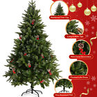 5FT 6FT 7FT White Christmas Tree Xmas Pine Holiday w Metal Stand Outdoor Indoor