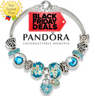 AUTHENTIC PANDORA Charm Bracelet Silver Blue Heart with European Charms