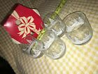 RARE! VTG 4 Libbey White Snowy Pine Tree Christmas Highball Clear Drinking Glass