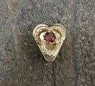Vintage 14K Yellow Gold Heart Shaped Garnet Slide Slider Charm