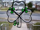Stained Glass Lucky Bevel Shamrock Sun catcher Real Glass