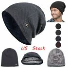 Newest Casual Knitted Lined Thicken Warm Wool Hats Beanies Skull Winter Cap Men